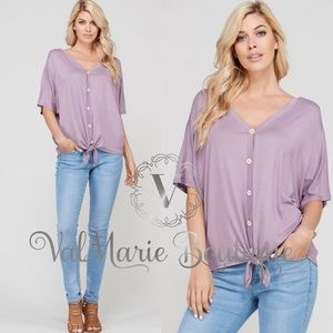 Dusty Lavender front tie top